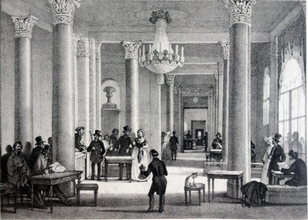 Caffé Gnocchi in Galelria De Cristoforis in una stampa