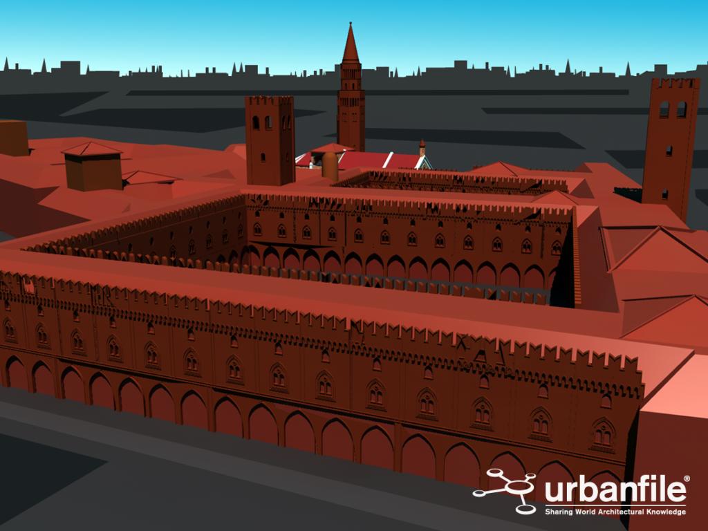 Ipotesi di come poteva apparire Palazzo Ducale a sud delle due basiliche (in primo piano la torre di Azzone Visconti)