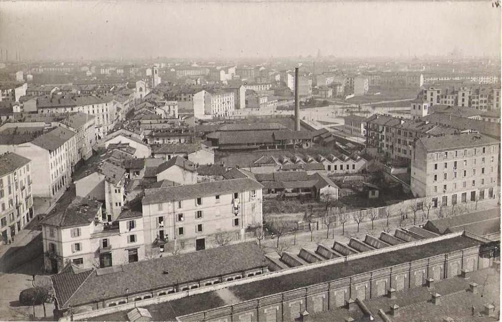 Maddalena - Altra immagine scattata dalla ciminiera della De Angeli Frua nell'aprile 1919, sempre con via Sacco in primo piano ma in direzione di via Marghera