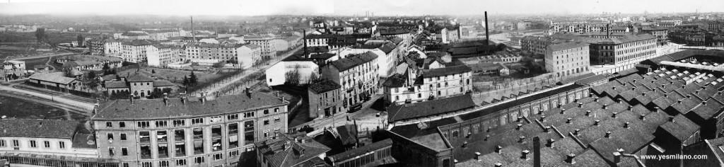 Maddalena Panoramica su Piazza De Angeli dalla ciminiera della Frua. Anni 30 b