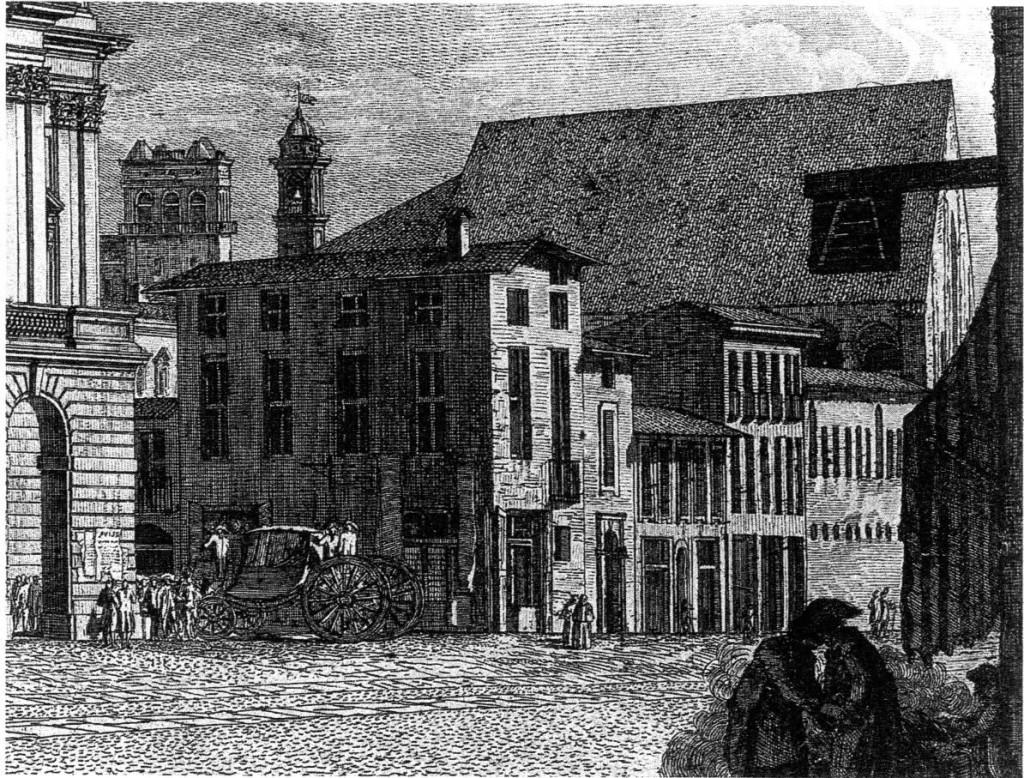 In Via Manzoni ,all'epoca la Corsia dei Giardini, dominata dalla mole imponente della chiesa demolita nel 1865