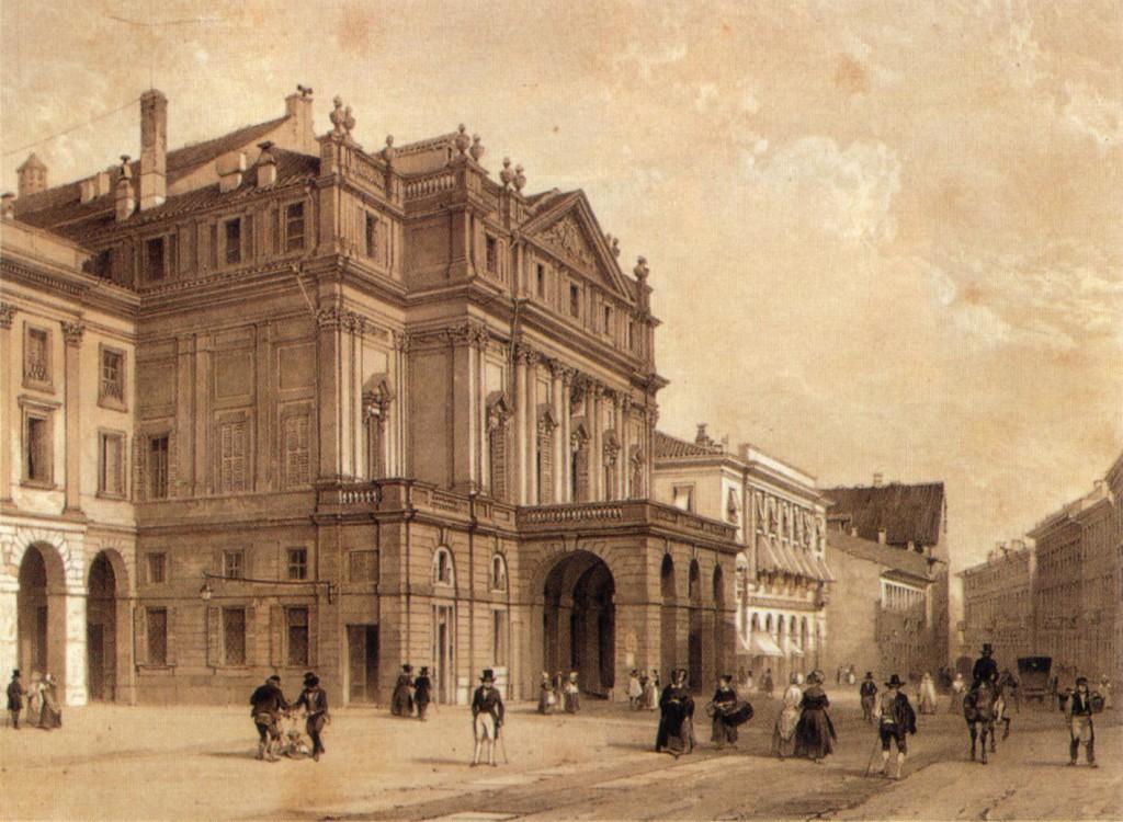 Santa Maria del Giardino vista dalla Scala in una stampa