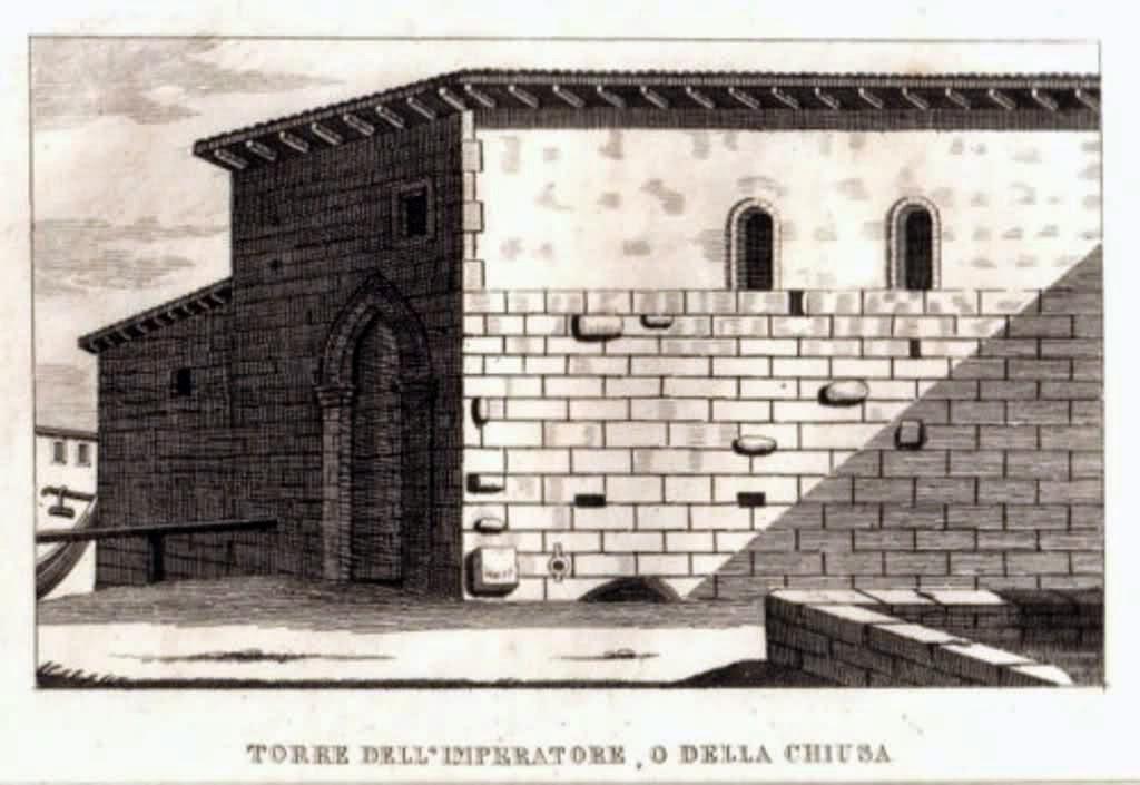 La Torre dell'Imperatore in via Vettabbia, demolita in gran parte nel 1778, in una stampa settecentesca