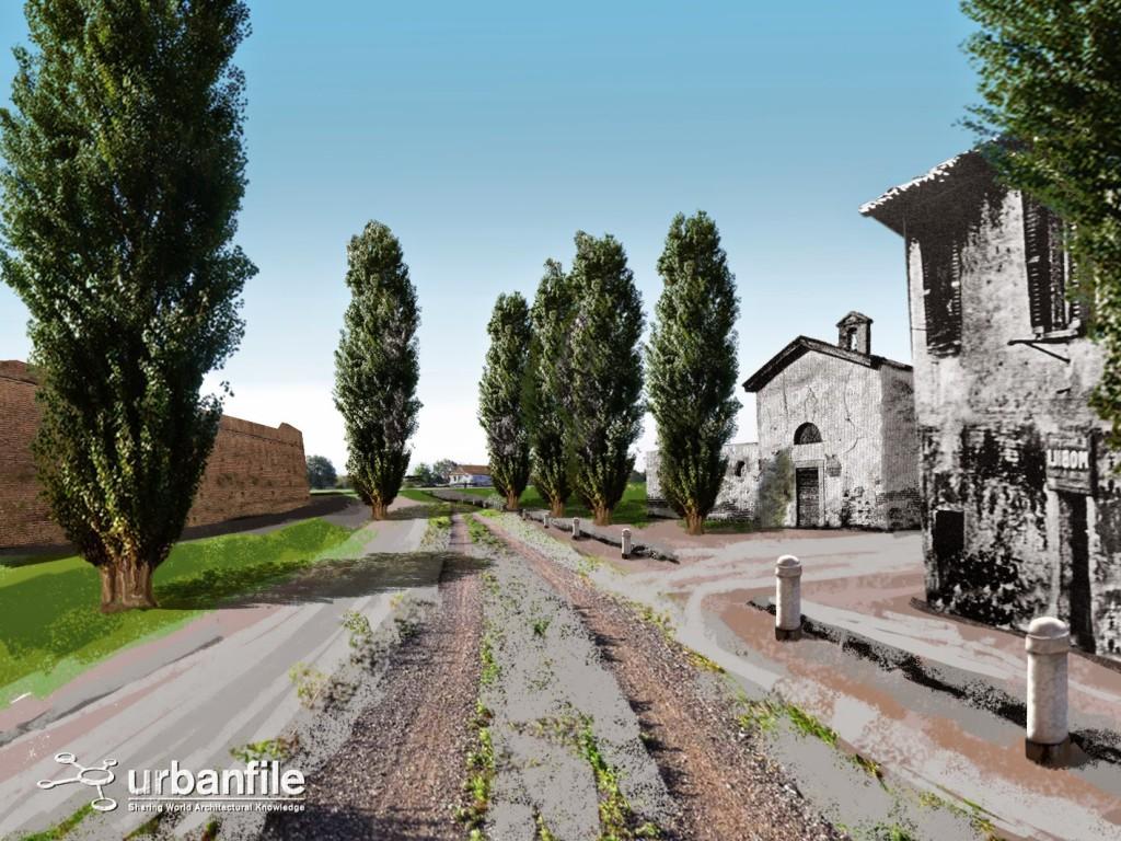 Ricostruzione di fantasia di come poteva apparire la seconda chiesetta di San Rocco nell'odierna viale Sabotino