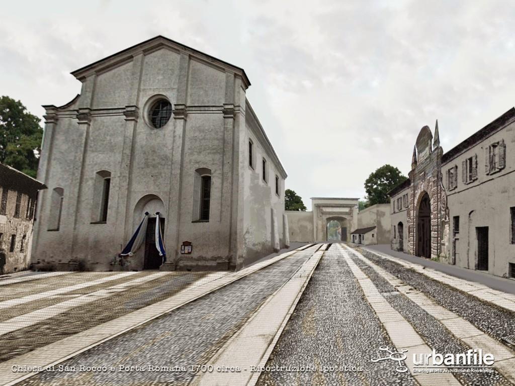 Lo stesso tratto finale di Corso di Porta Romana come forse poteva apparire nel 1700, a destra la dogana