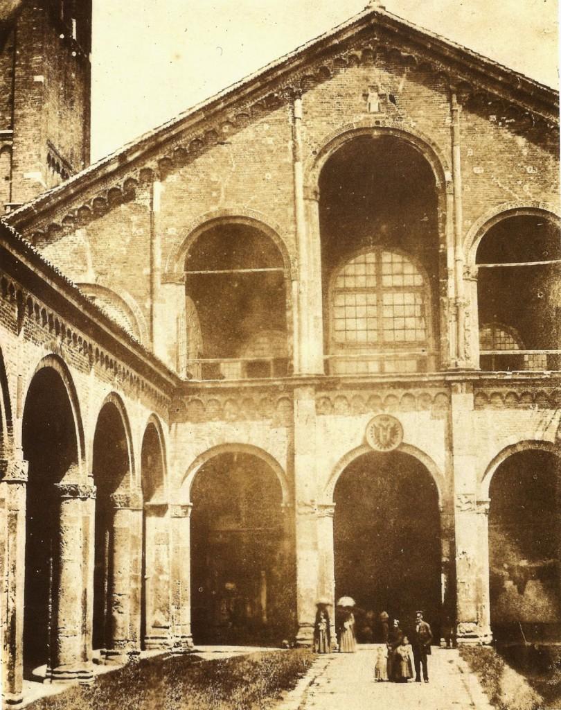 Veduta animata della Luigi Sacchi Basilica di Sant'Ambrogio a Milano, 1849