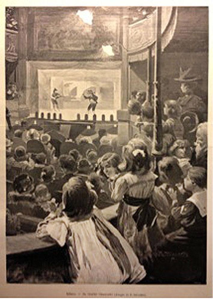 Disegno di Riccardo Salvatori, Interno del Teatro Gerolamo
