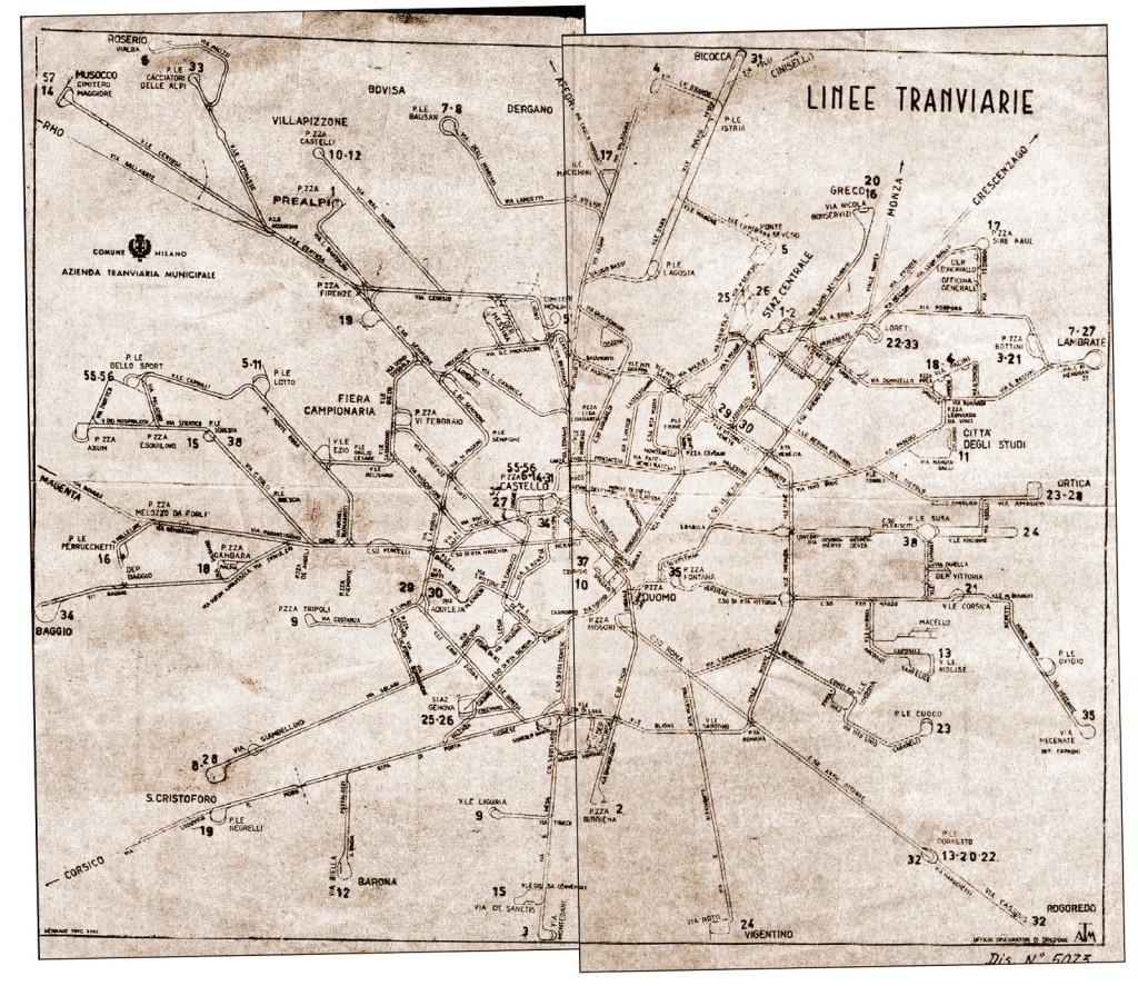 Milano rete Tranviaria 1940