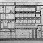 Sezione longitudinale del progetto di restauro del Teatro Gerolamo