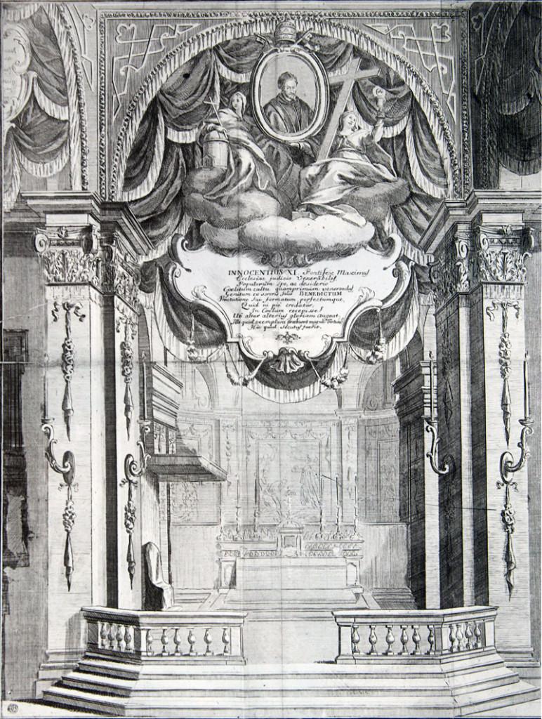 8_San Giovanni in Conca Altare barocco in una stampa del 1700