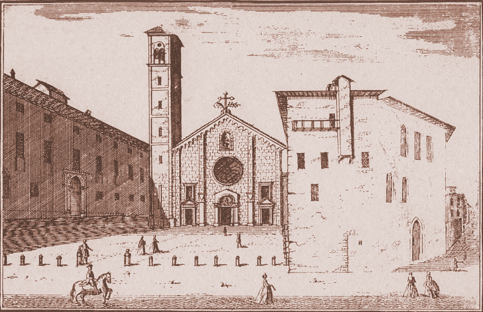 La chiesa di S. Giovanni in Conca in un'incisione di M.A. Dal Re 1745