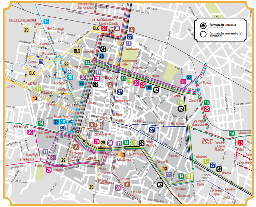 Le linee di autobus deviate a seguito del Cantiere BoBo; è evidenziato anche il percorso regolare della linea 27, che da lunedì 26 ottobre abbandonerà l'itinerario provvisorio su via Irnerio. [Comune di Bologna]