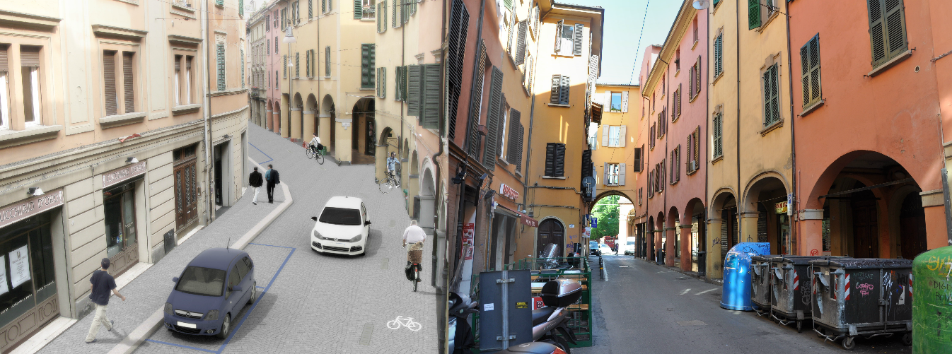 Il progetto di via Petroni (a sinistra) e lo stato dell'arte (a destra).