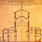 Paolo Cesa Bianchi, sezione trasversale della chiesa sull'aula all'altezza del tiburio. Stato di fatto (1882)