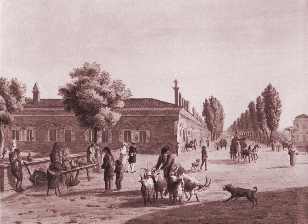 Lazzaretto visto da Porta Venezia, veduta di Gasparo Galliari 1807. A destra si vede lo stradone di Loreto, attuale Corso Buenos Aires