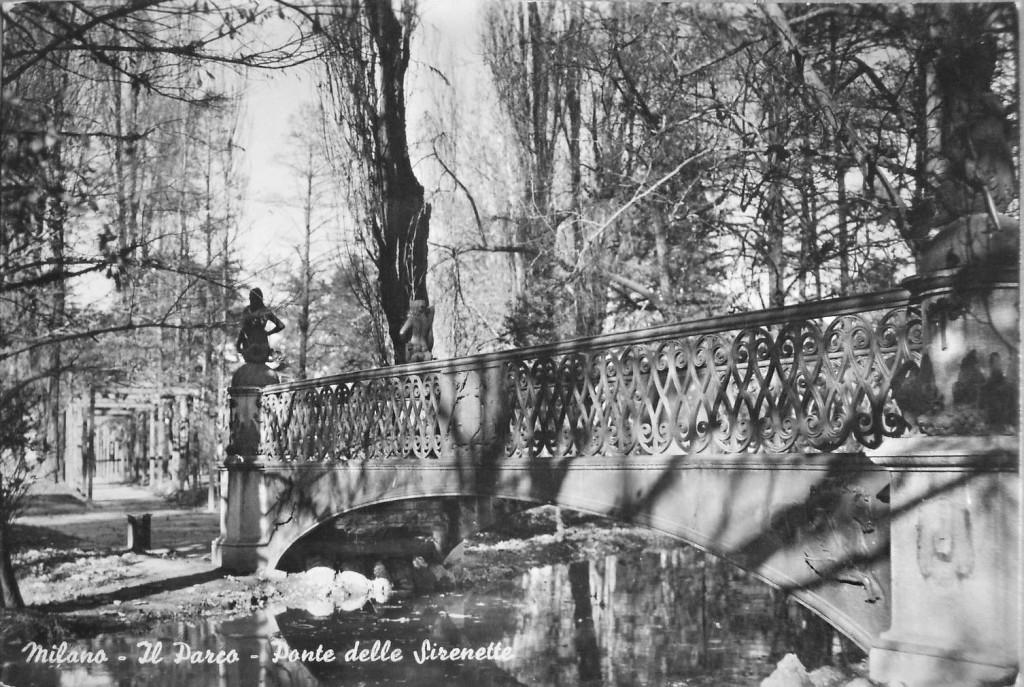 Parco Sempione e il ponte delle Sirenette nella nuova posizione al laghetto 1933-35