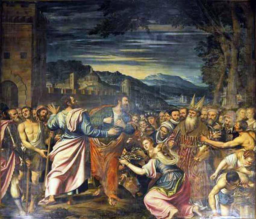 S. PETERZANO ? CARAVAGGIO, I santi Paolo e Barnaba a Listri, 1573-1590, olio su tela, cm. 305 x 410, Milano, chiesa dei santi Paolo e Barnaba, parte destra del presbiterio