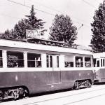 Treno diretto in servizio sulla tranvia Milano-Monza 1945-49