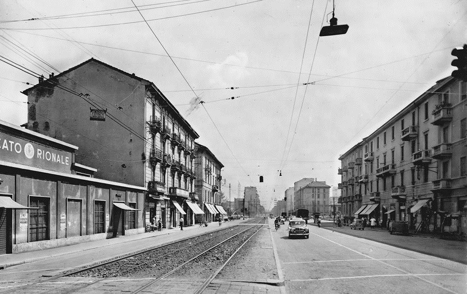 Viale Monza 1950-55 a Gorla
