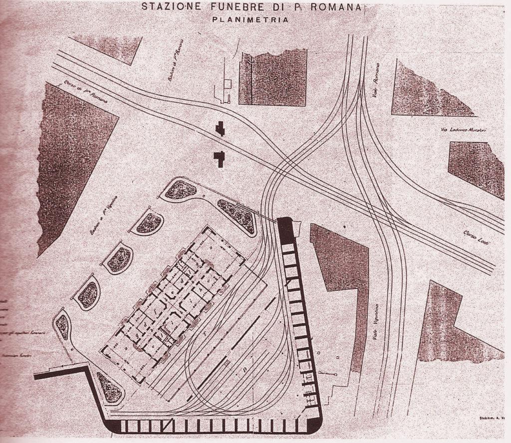 Planimetria stazione Funebre di Porta Romana 1905-20