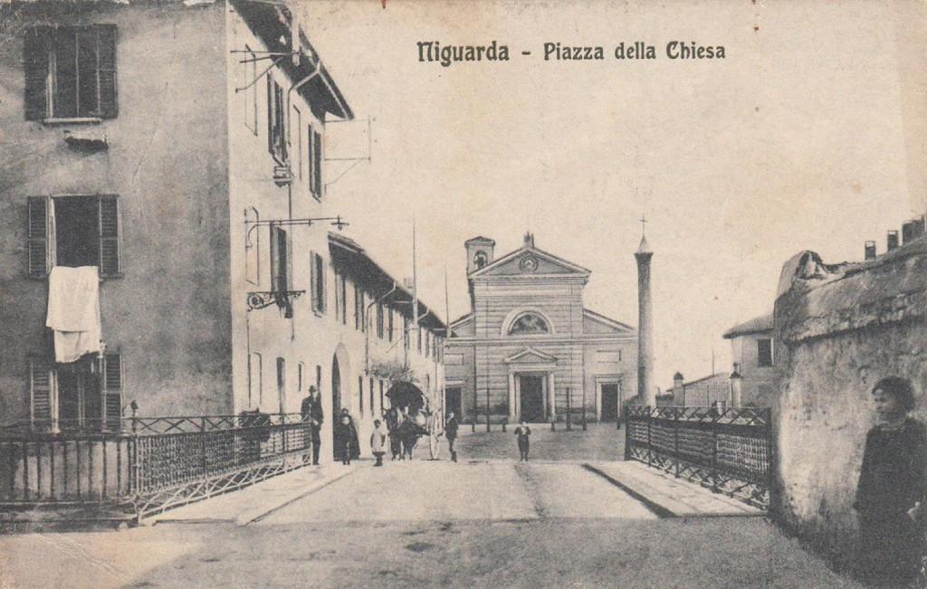 La chiesa di Niguarda nell'attuale piazza Belloveso col ponte sul Seveso in primo piano