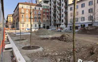 milano porta genova riqualificazione piazza santagostino cantiere alberi